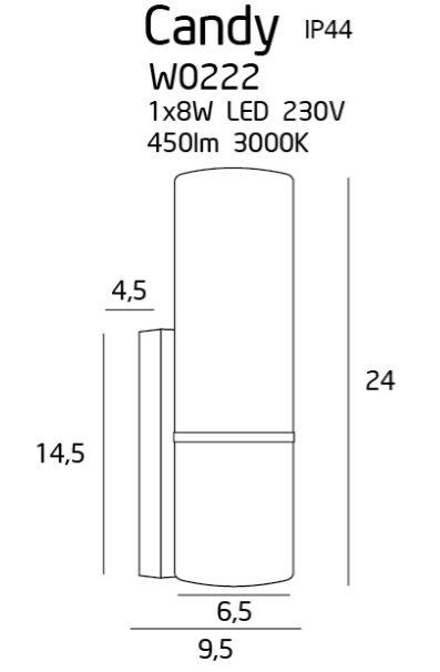 Sieninis šviestuvas CANDY-W0222