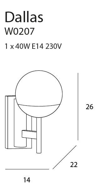 Sieninis šviestuvas DALLAS-W0207