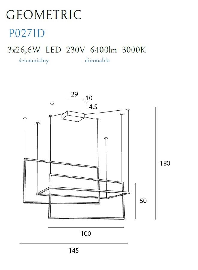 Pakabinamas šviestuvas GEOMETRIC-P0271D (Su šviesos reguliavimo funkcija)