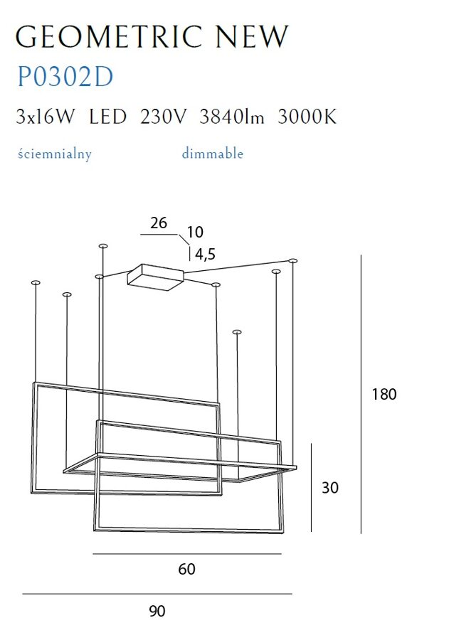Pakabinamas šviestuvas GEOMETRIC NEW-P0302D (Su šviesos reguliavimo funkcija)