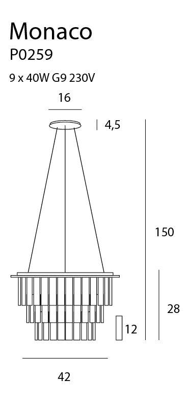 Pakabinamas šviestuvas MONACO-P0259
