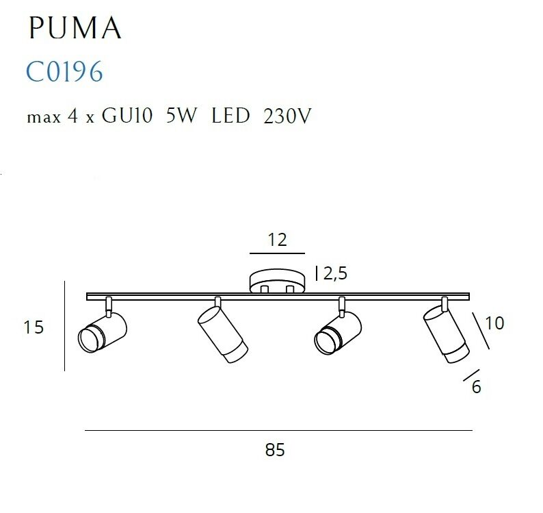 Lubinis kryptinis šviestuvas PUMA-C0196