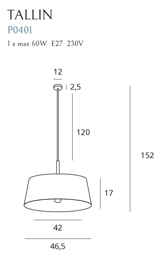 Pakabinamas šviestuvas TALLIN (juodas)